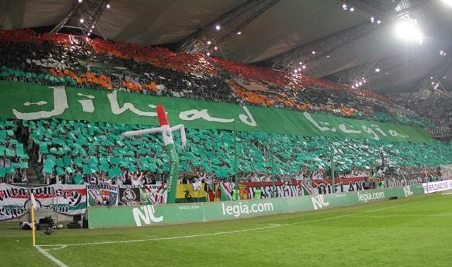 Legia's 'Jihad' banner is displayed during the 2012 football season.