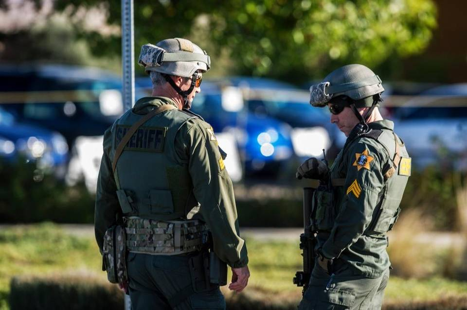 Merced County Sheriff SWAT personnel guard the University of California, Merced campus after Wednesday's stabbing.