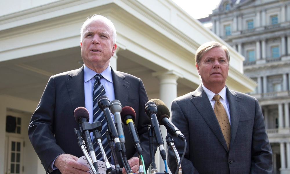 Sen. John McCain (left) lost a run for president; Sen.Lindsey Graham (right) is trying hard to follow in his footsteps.