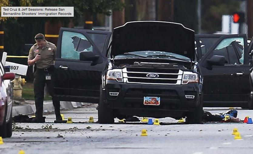 The shooters' car in San Bernardino, Calif. earlier this week.