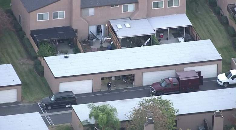 The back of the couple's home in Redlands, California, the day after the shooting.