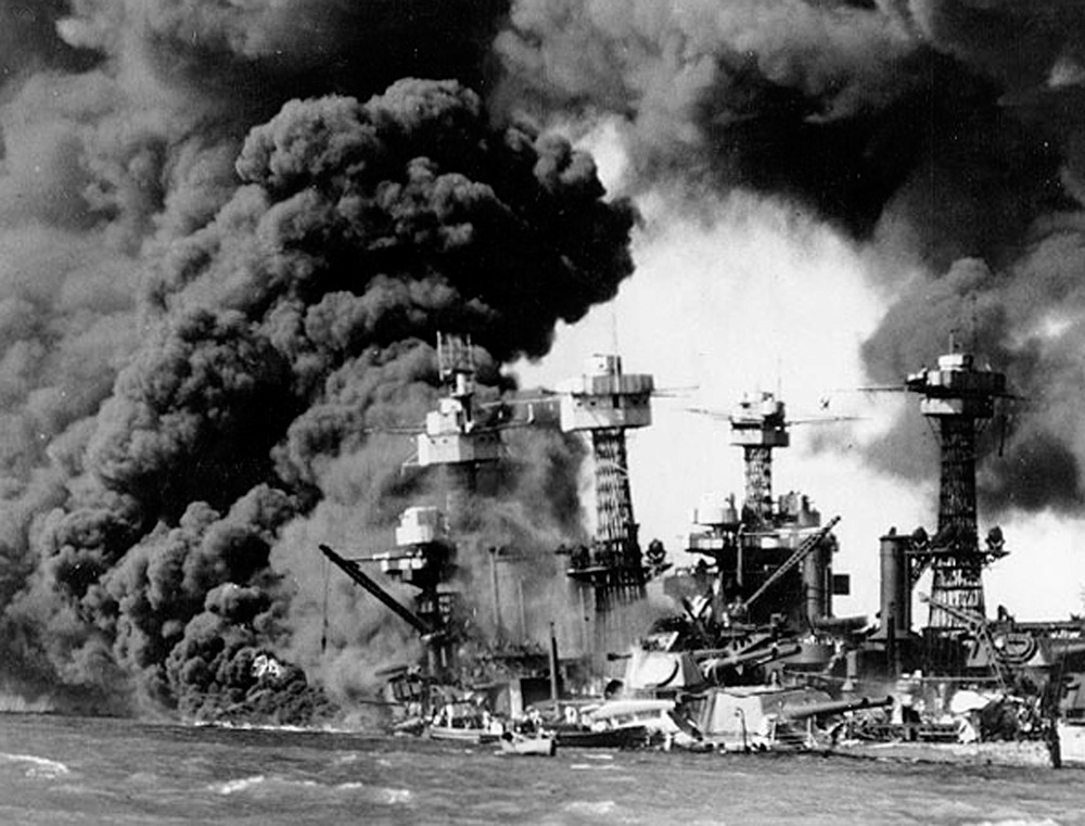 Pearl Harbor after the Japanese surprise attack on Dec. 7, 1941
