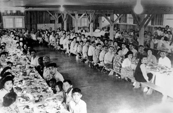 Japanese-American internees at a camp in 1942