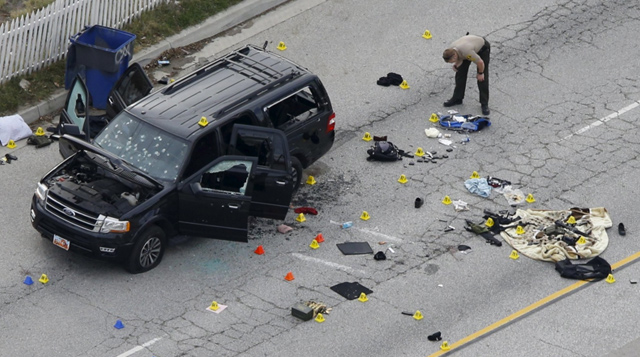The vehicle in which the San Bernardino shooters tried to flee (Pictures of whose they killed are not readily available.)