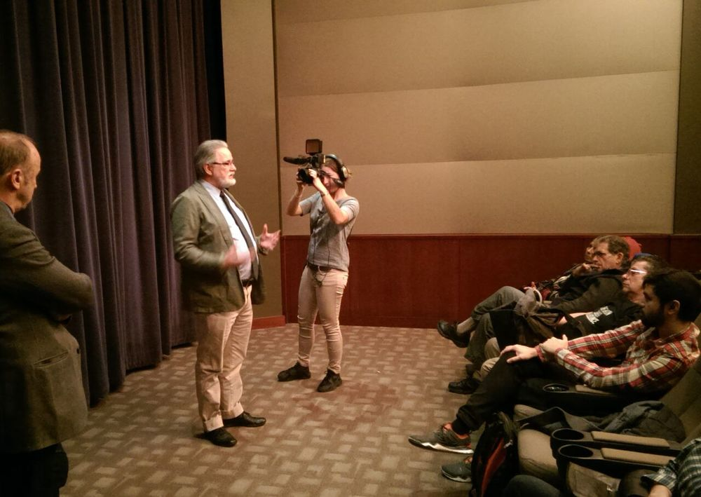 Martin Mawyer answers questions after the first showing of Europe's Last Stand on Dec. 18