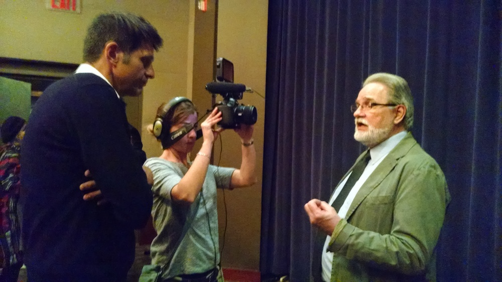Martin Mawyer is interviewed by French television.