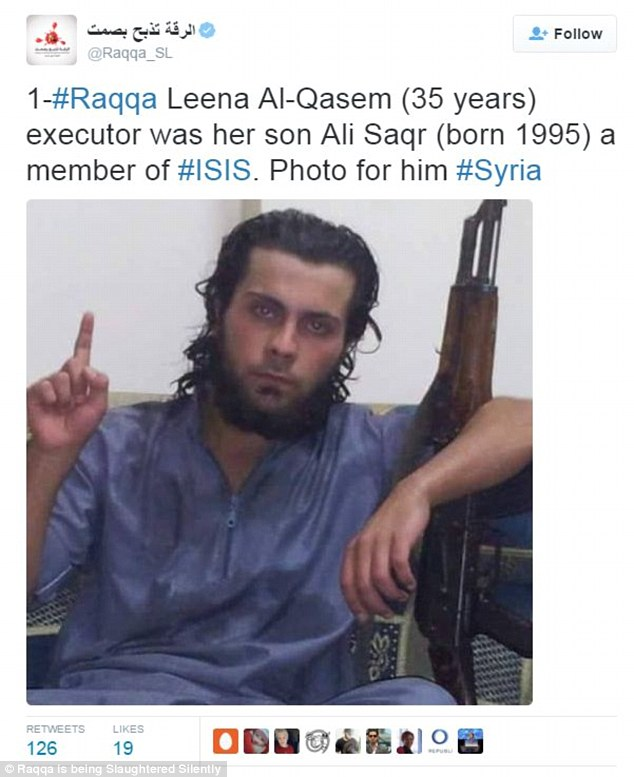 Ali Saqr al-Qasem used an assault rifle to execute his mother Lena, 45, after she was found guilty of apostasy.