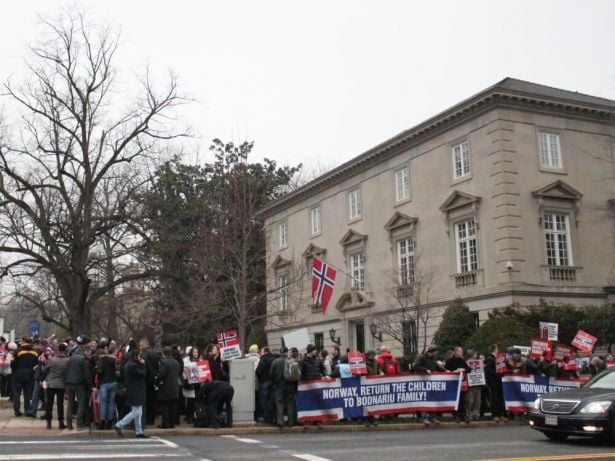 Protesters gather at the Norwegian Embassy in Washington, D.C. on Jan. 8.