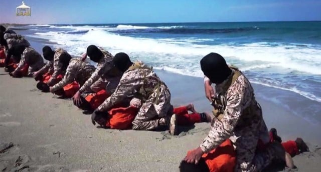 Christians are executed by hooded ISIS members on a beach in Ethiopia (photo from raymondibrahim.com).