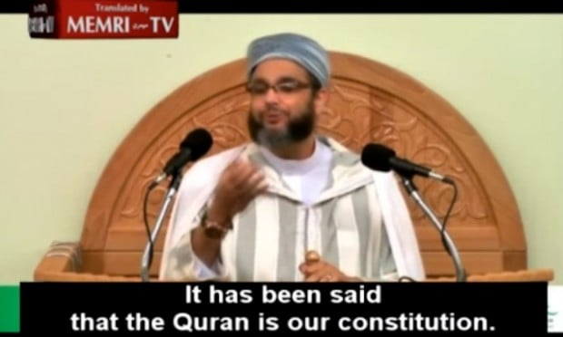 French Muslim cleric Mohamed Khattabi said that for Muslims the Koran is the only constitution. (Image source: MEMRI)