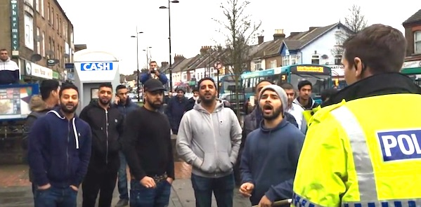 "A mob of Muslim men swarmed a ""Christian patrol"" organized by the political group Britain First."