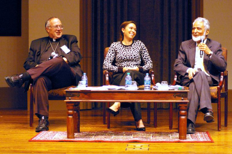 "Bishop Robert W. McElroy of San Diego and Muslim leader Sayyid M. Syeed discuss the ""ugly tide of anti-Islamic bigotry"" in keynote speeches at the University of San Diego on Feb. 17. Facilitating the discussion was Ami Carpenter, center."