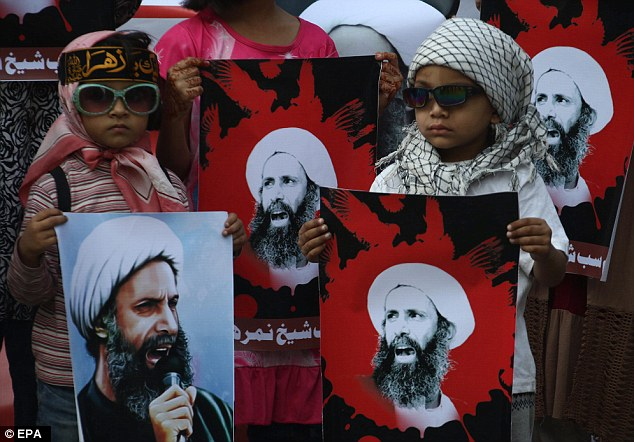 On January 2, 47 people were executed for 'terrorism', including Shiite cleric Nimr al-Nimr (pictured in posters), a driving force behind protests that began in 2011 among the kingdom's minority Shiites