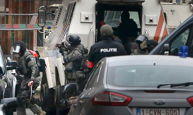 Police at the scene of a security operation in the Brussels suburb of Molenbeek.