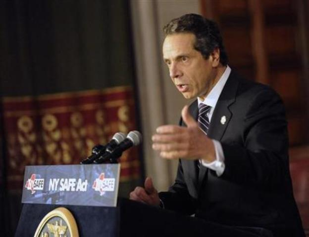 New York Gov. Andrew Cuomo talks about the New York Secure Ammunitions and Firearms Act in Albany, N.Y., in 2013.