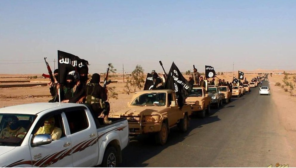 These ISIS fighters are parading near Ramadi, Iraq.
