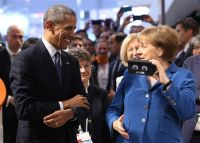 President Barack Obama and German Chancellor Angela Merkel test virtual reality goggles while touring the Hannover Messe, the world's largest industrial technology trade fair, in Hannover, Germany, on Monday.