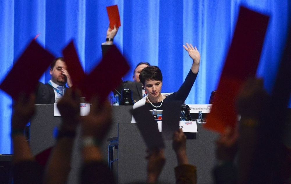 Frauke Petry, party leader of Alternative for Germany (AfD) votes at a party congress on May 1 in Stuttgart.