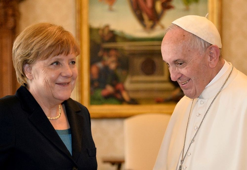 Pope Francis with German Chancellor Angela Merkel