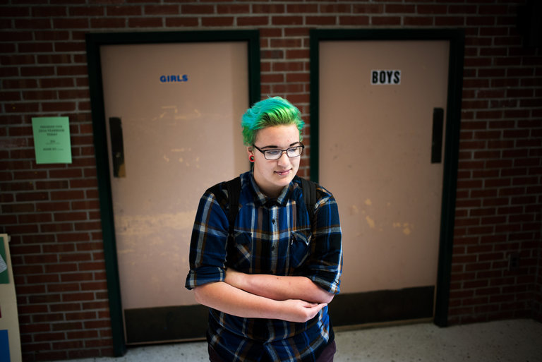 A complaint against AJ Jackson, 16, a transgender student at Green Mountain Union High School in Chester, Vt., for using the boys' bathroom sparked a protest over the right of students to use the bathroom of their choice.