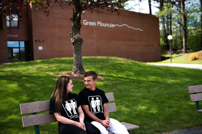"Mariah Lique and Tanner Bischofberger, who are dating, wore ""Straight Pride"" T-shirts in opposing the new policy at Green Mountain Union High School of allowing transgender students to use the bathroom of their choice."
