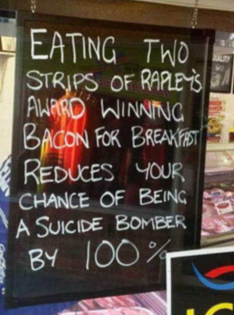 A photo posted on social media showed a sign up in the window of Jeff Rapley's butchery, Rapley's Midtown Quality Meats, in Narooma on the NSW South Coast.