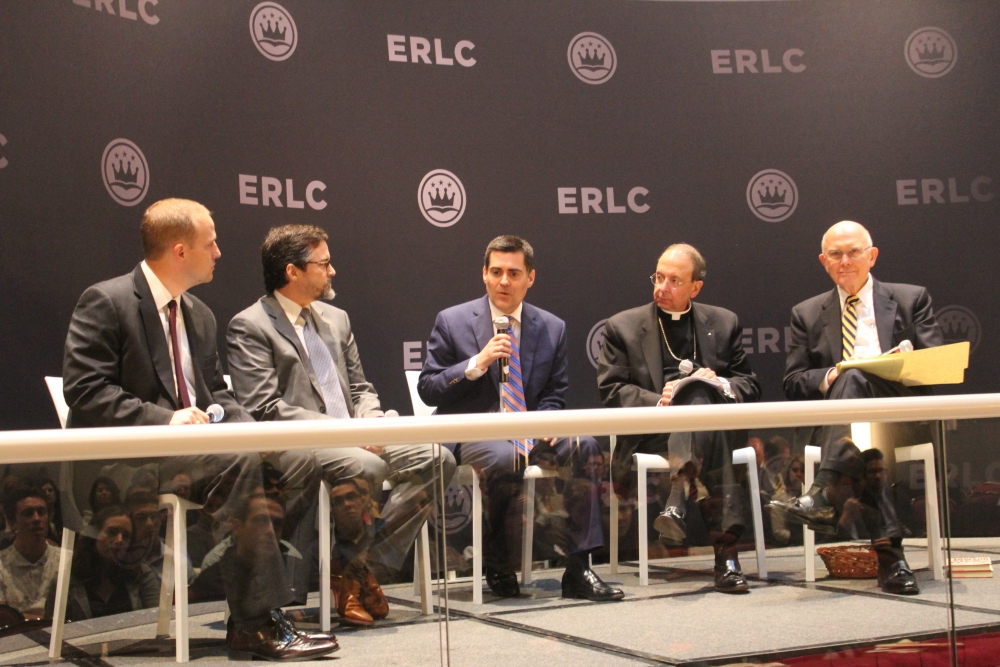 """From left, Phillip Bethancourt, Sheikh Hamza Yusuf, Russell Moore, Archbishop William E. Lori, Elder Dallin H. Oaks appear on a ERLC panel, """"With Liberty and Justice for All: Why We Should Pursue Religious Freedom for Everyone,"""" Washington, D.C. last month."""