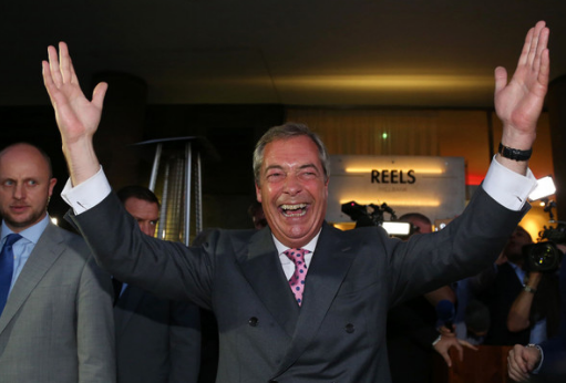 Leader of the United Kingdom Independence Party Nigel Farage celebrates at the Leave.EU referendum party in central London.