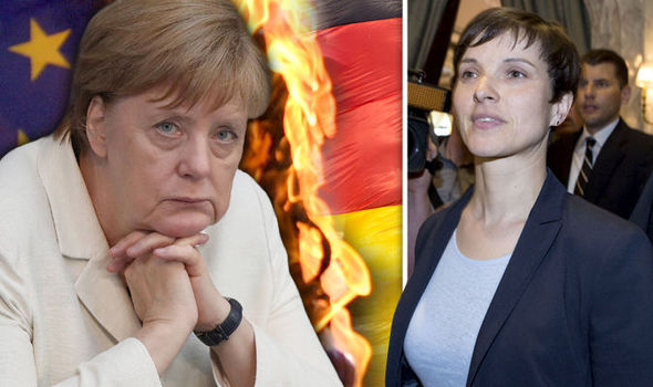 Frauke Petry, right, is calling for a German EU referendum