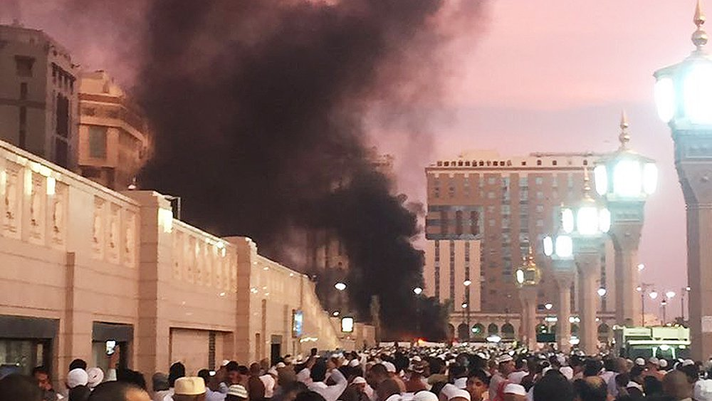 Smoke rises from the site of an explosion in Medina, Saudi Arabia on July 4.