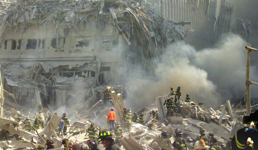 The wreckage of the World Trade Center on Sept. 11, 2001