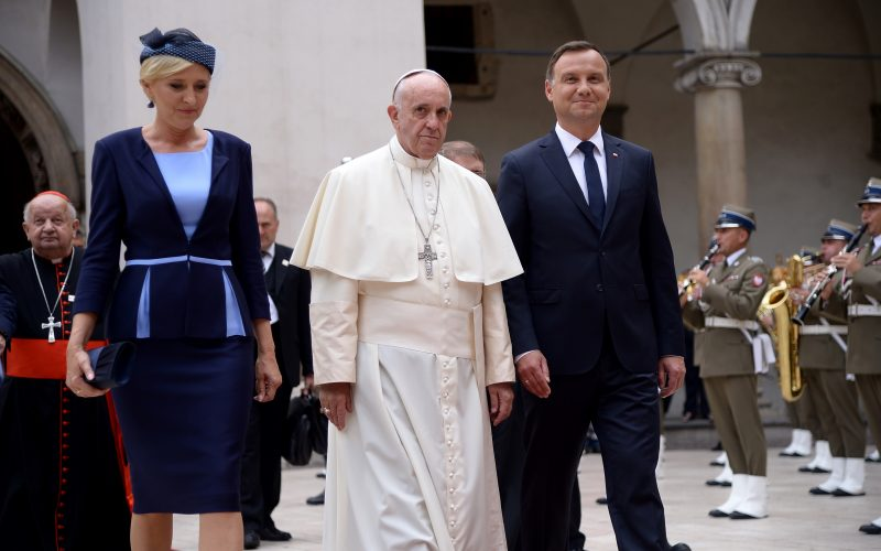Pope Francis with Polish President Andrzej Duda and his wife Agata Kornhauser-Duda