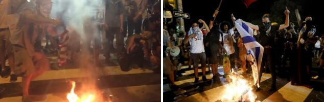 Demonstrators burn an American (left) and Israeli flag during protests in Philadelphia.