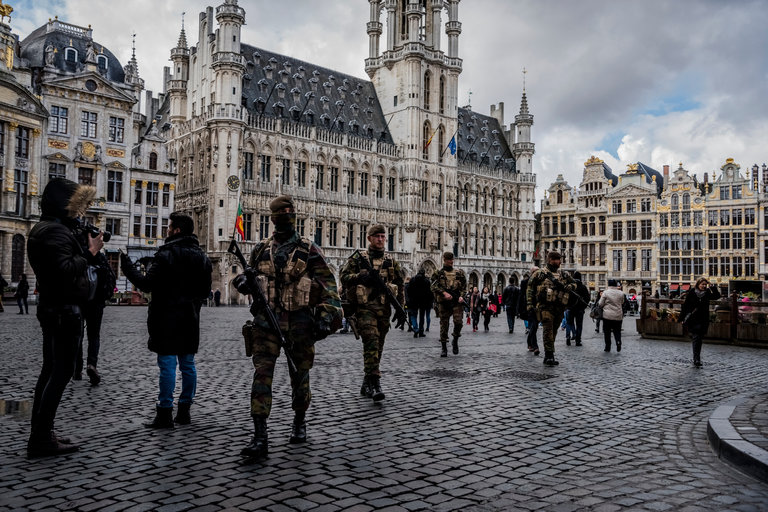 Belgian soldiers patrol the main square of Brussels recently.