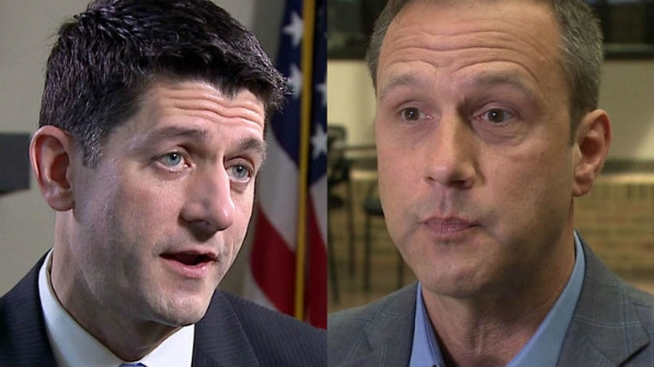 House Speaker Paul Ryan, left; businessman Paul Nehlen, right