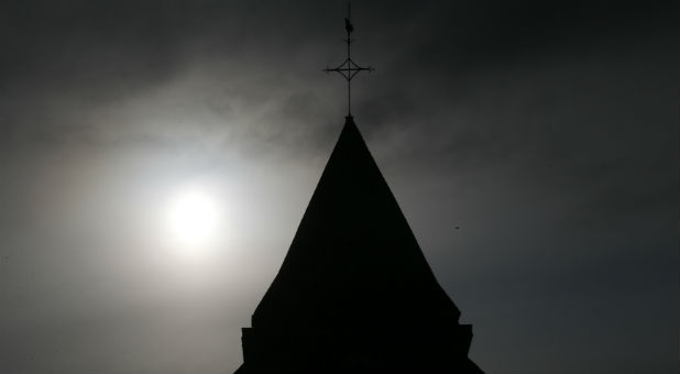 The bell tower of the church in Saint-Etienne-du-Rouvray near Rouen in Normandy, France, where French priest, Father Jacques Hamel, was killed with a knife and another hostage seriously wounded in an attack on the church that was carried out by assailants linked to Islamic State