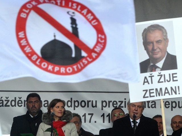 Czech president Miloš Zeman speaks at an anti-Islam rally in November 2015.