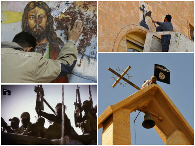 Collage of ISIS members breaking and defiling Christian icons in the Middle East