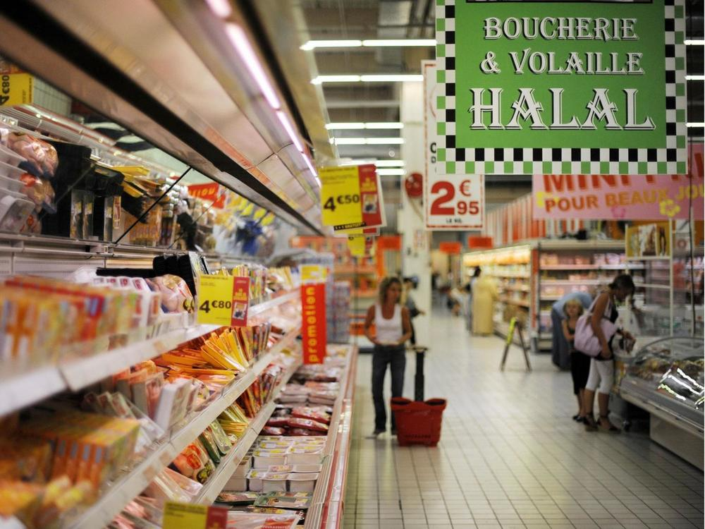 File photo of the halal section of a french market