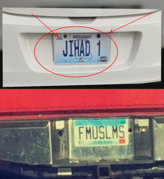 Recently approved plate, top; rejected plate, bottom