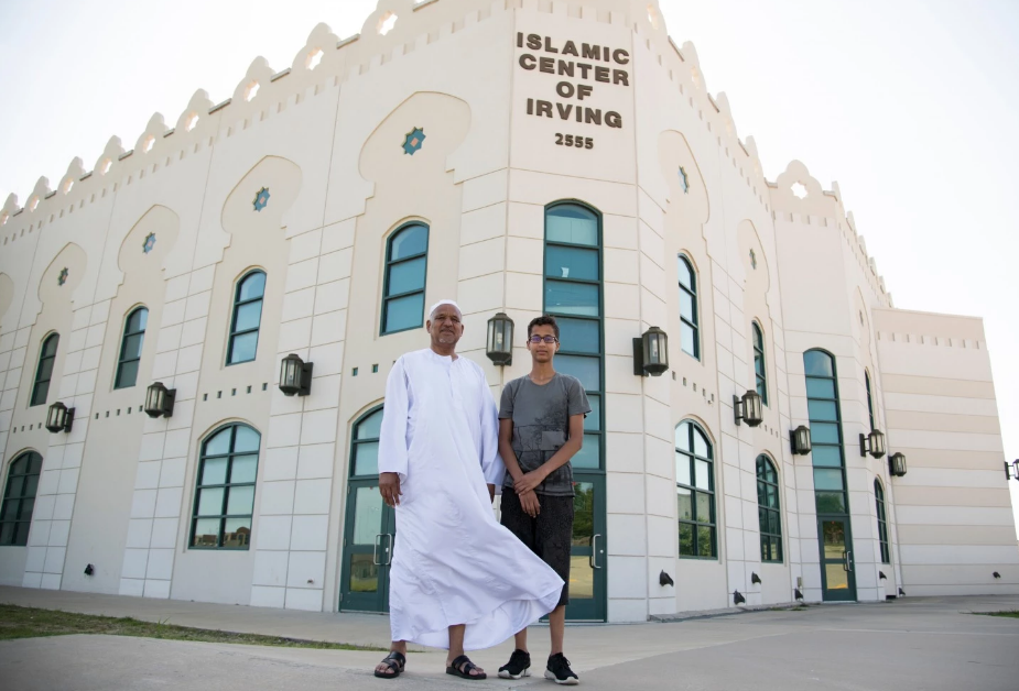 Ahmed Mohamed and his father Mohamed Elhassan Mohamed pose for a photo at the Islamic Center of Irving in Irving, Tx. in July.