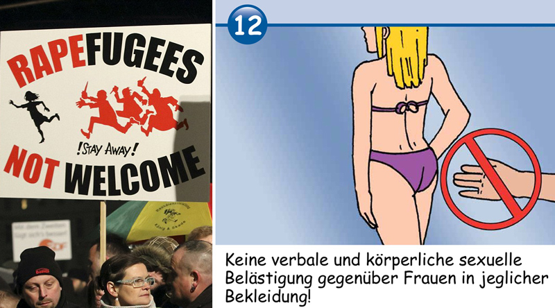 "The German government has been facing a rising voter backlash to the open-door migration policy, including public protests (left). In some areas, authorities have distributed cartoon guides, to ""educate"" migrants that sexual assault is not acceptable (right)."