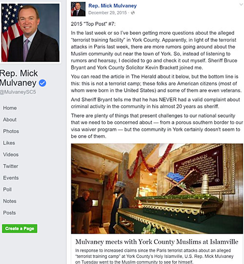 A Facebook post written by Rep. Mulvaney after his visit to Islamville