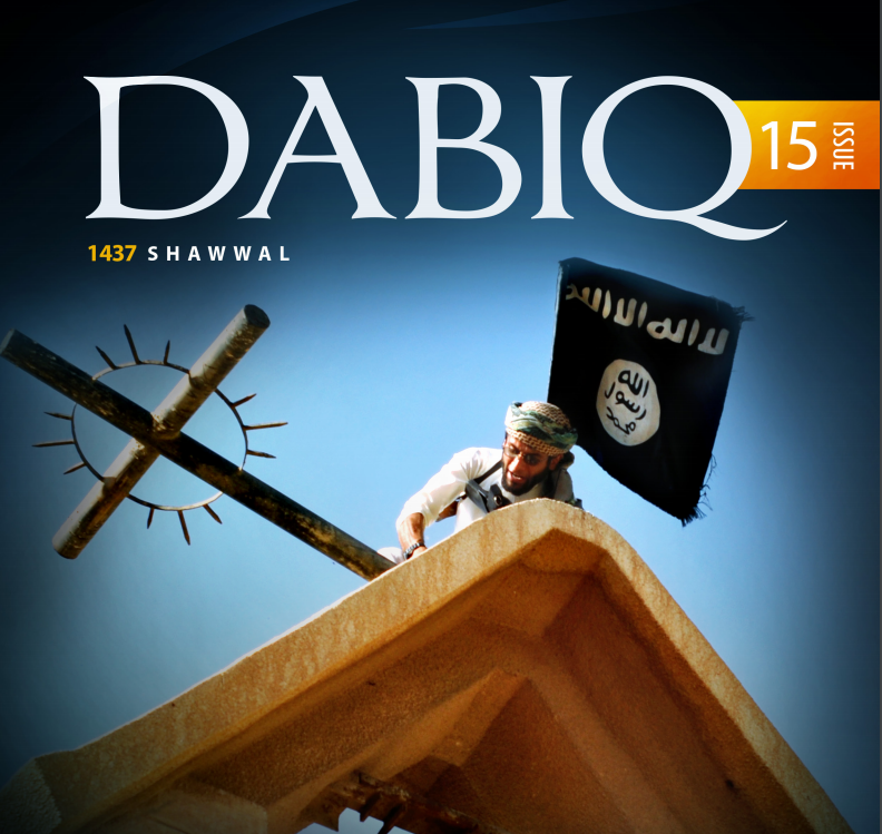 A recent cover of Dabiq, the slick magazine that the Islamic State distributes online.
