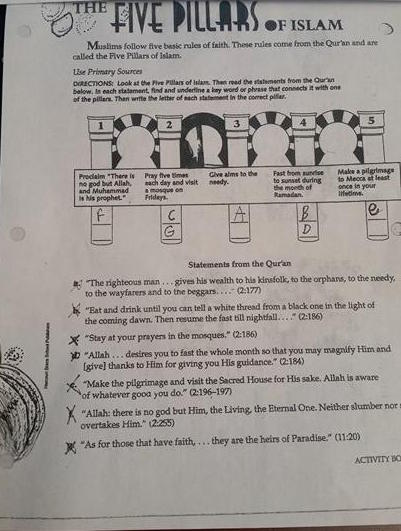 Students at Alston Middle School in Summerville, South Carolina, were given a worksheet that required them to learn the five pillars of Islam.