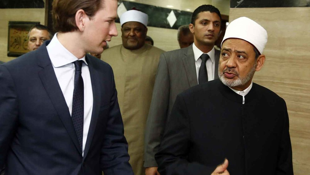 """Egypt's Muslim cleric Ahmed al-Tayeb, right, said """" Christianity and Judaism ... are guilty of one and the same thing, that is, religious violence and terrorism."""""""