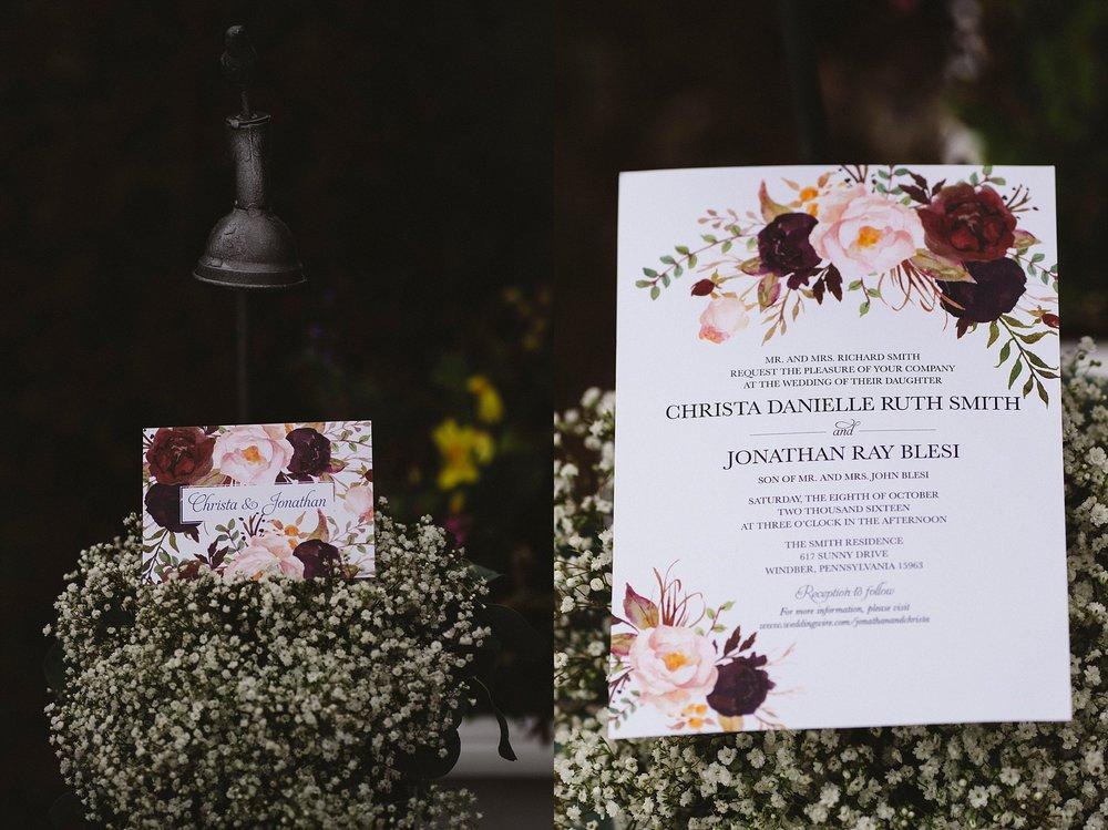 Invitation Pittsburgh wedding photographer