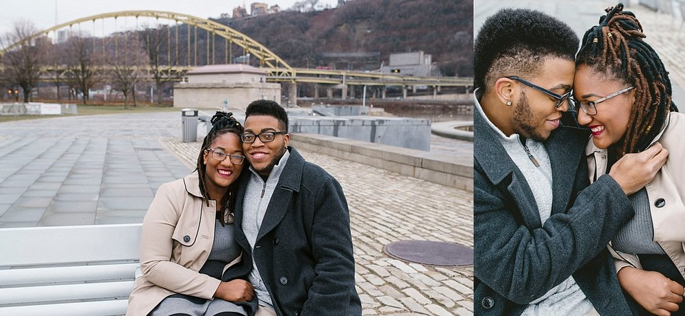 Engaged couple Pittsburgh