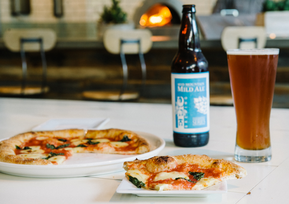 From Scratchs Margherita pizza & Epic Mid-Mountain Mild Ale