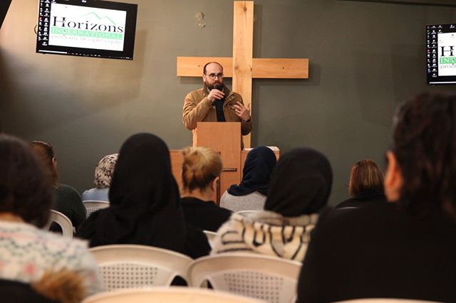 Horizons International's Executive Director, Pierre Houssney, sharing from the Word of God at a recent discipleship festival for refugee women in Beirut. #HorizonsInternational #discipleship #1000lighthouses #Refugeeministry
